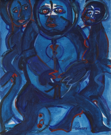 Herbert Gentry, One Plus Two, 1983, Acrylic on canvas,  24 x 20 inches, Signed lower right: Gentry. Abstract portrait with deep blues and red.. Herbert Gentry painted in a semi-figural abstract style, suggesting images of humans, masks, animals and objects caught in a web of circular brush strokes, encompassed by flat, bright color.
