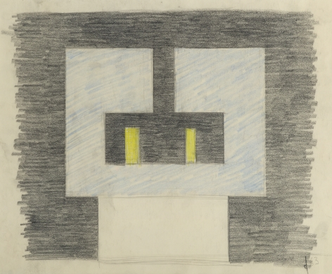 Burgoyne Diller,  Drawing for Sculpture, 1963,  Pencil and crayon on paper, Sculpture sketch with square and rectangular stacked shapes. Burgoyne Diller was a modernist artist who worked in various mediums to create geometric abstractions.