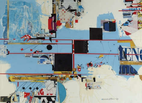 Will Call,1997,  Mixed Media and Collage,  30-1/8 x 41-5/8,  Signed and dated lower right. Abstract piece with duo-tone blue photographs, black squares and red lines. Sam Middleton was one of the leading 20th-century American artists, and is a mixed-media collage artist.
