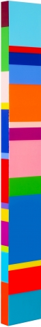 Heidi Spector, The Song Begins Again, 2019, Liquitex with resin on Birch panel, 52 x 7 x 2 inches, Signed, titled and dated on the verso, Long vertical panel with colorful squares and rectangles set in a glass-like surface, Heidi Spector creates geometric minimalist art inspired by musical rhythms that are composed of repetitive shapes in candy-like colors that vibrate.