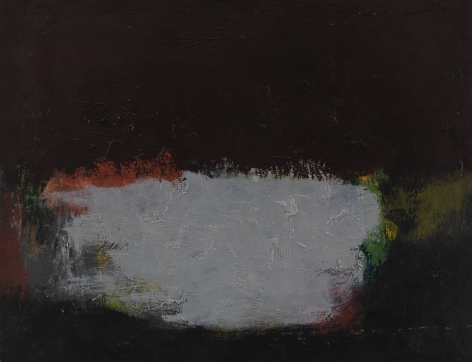 Felrath Hines, Untitled, 1954, Oil on canvas, 14 x 18 inches. Abstract painting with black textured background and organic, soft pastel colors on the foreground. Felrath Hines worked to create universal visual idioms from a place of complex personal experience. His figurative and cubist-style artwork morphed into soft-edged organic abstracts as he grappled with hues in his chosen oil medium.