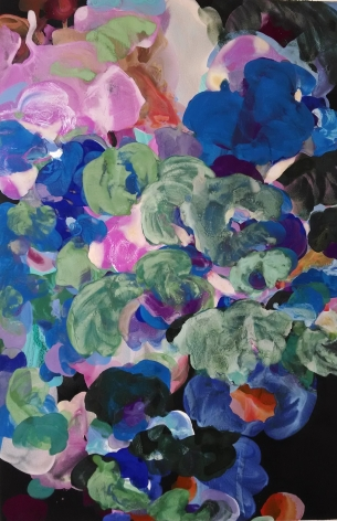 Jasmina Danowski, HIdeaway, 2017  60 X 40 Inches, Ink, acrylic and gesso on paper, Abstract and organic painterly marks in blue, green, orange and violet, Jasmina Danowski creates abstract paintings that are rich in color and texture.