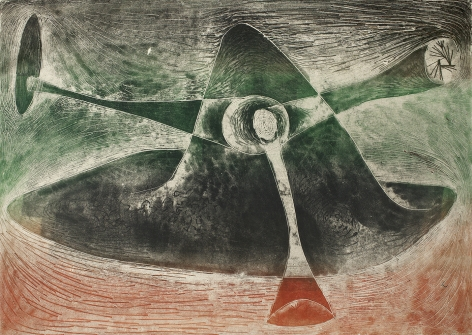 Harry Bertoia, 1264 c.1970, Monoprint on rice paper  26 5/8  x 36 ¼ in, Green, orange and black abstract monoprint. Harry Bertoia was an artist and furniture designer.