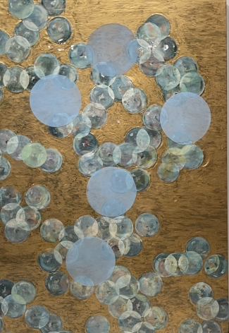 Erin Parish. Molecular Boogie, 2019, Oil on canvas, 50 x 70 in., Signed and dated on verso. Composed principally of fields of teal and gray circles over a gold background, Parish's paintings do not have primary focal points, but rather implied depth, created by the use of resin resulting in textured surfaces that guides the eye. Layered and dense, Parish's works convey a distinct tension between the textured surface and the underpainting resulting in structurally rigorous and complex compositions.