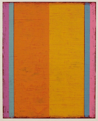 Steven Alexander, P12-18, 2018,  Oil & acrylic on paper, 10 x 8 inches. Six thick and thin vertical rectangles in orange, magenta, pink, blue, and yellow. Steven Alexander is an American artist who makes abstract paintings characterized by luminous color, sensuous surfaces and iconic configurations.
