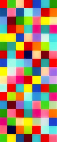 Heidi Spector, Boss' Life, 2018, Liquitex with resin on Birch panel, 34 x 14 x 2 inches, Signed, titled and dated on the verso, Vertical panel with colorful cubes set in a glass-like surface, Heidi Spector creates geometric minimalist art inspired by musical rhythms that are composed of repetitive cubes in candy-like colors that vibrate.