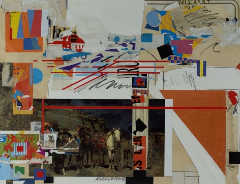 Sam Middleton, Buffalo Soldier, 1995,  Mixed media and collage on paper, 19-1/2 x 25-1/4. Collage with photograph of horses, geometric lines and rectangles in orange, blue, yellow and red. Sam Middleton was one of the leading 20th-century American artists, and is a mixed-media collage artist.