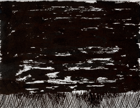 Felrath Hines, Untitled, 1977, Ink on paper,  5 x 6.5 inches,  Unsigned. Abstract ink image with vertical lines on the bottom. Felrath Hines worked to create universal visual idioms from a place of complex personal experience. His figurative and cubist-style artwork morphed into soft-edged organic abstracts as he grappled with hues in his chosen oil medium.