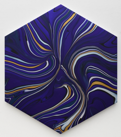 Andy Moses, Geodynamics 1702, 2019  Acrylic on canvas stretched over hexagonal shaped wood panel  78 x 67 inches