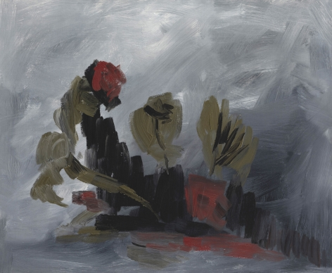 Felrath Hines, Flowers, 1961, Oil on canvas, 20 x 24 inches, Abstract painting of flowers with soft painterly grey background and darker grey and red organic flower petal shapes. Felrath Hines worked to create universal visual idioms from a place of complex personal experience. His figurative and cubist-style artwork morphed into soft-edged organic abstracts as he grappled with hues in his chosen oil medium.