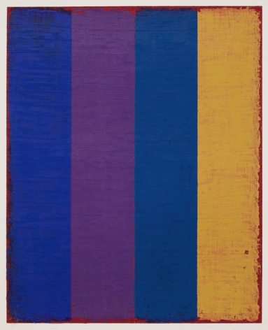 Steven Alexander, P-17, Oil and acrylic on paper, 10 x 8 inches. Vertical canvas with four vertical rectangles in yellow, royal blue, blue, and purple. Textured and layered maroon edges that bleed into the other colors. Steven Alexander is an American artist who makes abstract paintings characterized by luminous color, sensuous surfaces and iconic configurations.