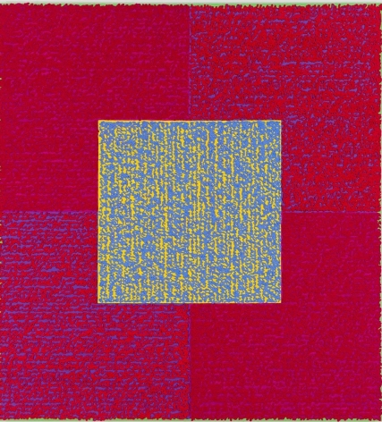 Louise P. Sloane, BURTRYB, 2014, Acrylic paint and pastes on aluminum panel, 50 x 46 inches, signed, titled and dated on the verso, four rectangles and a central square (magenta, and purple) with personal text written over the squares in pink and blue to create three dimensional texture. Louise P. Sloane has been creating abstract paintings since 1974, embracing minimalist techniques and the beauty of color and texture.