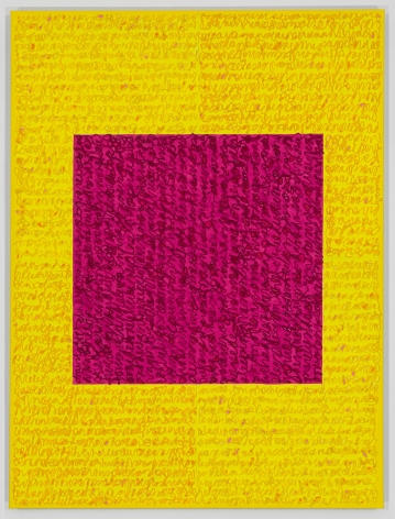 Louise P. Solane, Celeste, 2018, Acrylic paint and pastes on linen, 48 x 36 in., Signed, titled and dated on verso. four rectangles and a central square (yellow and pink) with personal text written in red-orange over the squares to create three dimensional texture. Louise P. Sloane has been creating abstract paintings since 1974. Her works focus on geometric forms while celebrating color and texture.
