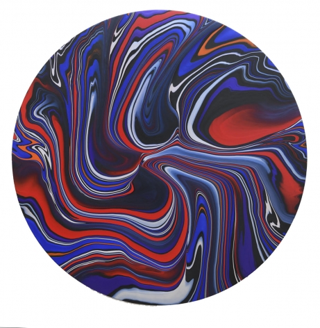 Andy Moses, Geodesy 1208, 2018, Acrylic on canvas, 60 inches in diameter, Abstract and representational painting with red and blue waved lines, Andy Moses is interested in pushing the physical properties of paint through chemical reactions, viscosity interference, and gravity dispersion to create elaborate compositions that mimic nature and its forces.