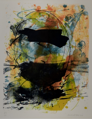 Sam Middleton, Indigo, 1966,  Lithograph on paper,  21-1/2 x 16-1/2 inches,  23/25,  Signed, numbered and dated. Abstract work with organic movement in black, blue, orange and yellow. Sam Middleton was one of the leading 20th-century American artists, and is a mixed-media collage artist.