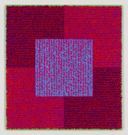 Louise P. Sloane, DRVBS, 2015, Acrylic paint and pastes on aluminum panel, 26 x 24 inches, signed, titled and dated on the verso, SOLD, four rectangles and a central square (magenta, and purple) with personal text written over the squares in pink and blue to create three dimensional texture. Louise P. Sloane has been creating abstract paintings since 1974, embracing minimalist techniques and the beauty of color and texture.