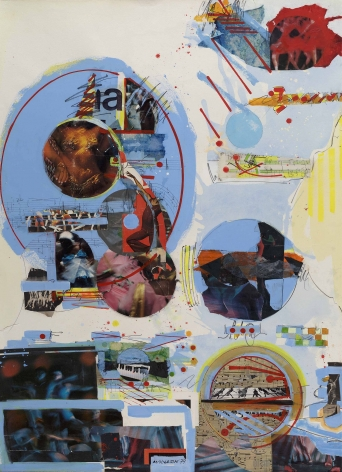 Sam Middleton Dans Klass, 1979, Mixed media collage, 41 x 30 inches, Signed and dated lower center, MIDDLETON 79 Signed, titled, and numbered verso. Collage work with light blue spheres and overlapping photographs cut into the same spherical shape. Sam Middleton was one of the leading 20th-century American artists, and is a mixed-media collage artist