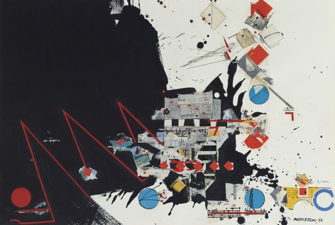 Sam Middleton,  Musique, 1986,  Mixed media and collage on paper,  20-1/2 x 30-1/4 inches,  Signed and dated lower right. Abstract piece with primary colors and abstract shapes; including spheres, triangles and squares. Sam Middleton was one of the leading 20th-century American artists, and is a mixed-media collage artist.