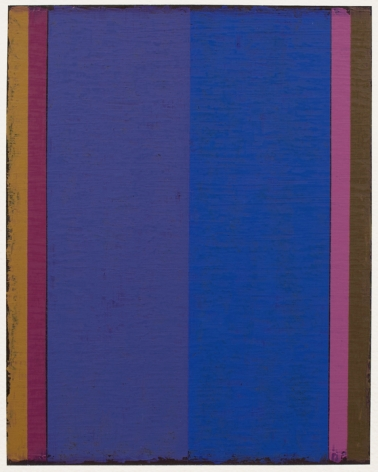 Steven Alexander, P9-18, 2018,  Oil & acrylic on paper, 10 x 8 inches. Six thick and thin vertical rectangles in orange, magenta, purple, blue, pink and and brown. Steven Alexander is an American artist who makes abstract paintings characterized by luminous color, sensuous surfaces and iconic configurations.
