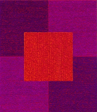 Louise P. Sloane, Violets Red, 2013, Acrylic paint and pastes on aluminum panel, 56 x 48 x 3/8 inches, SOLD, four squares and a central square (red, and purple) with personal text written over the squares in red to create three dimensional texture. Louise P. Sloane has been creating abstract paintings since 1974, embracing minimalist techniques and the beauty of color and texture.