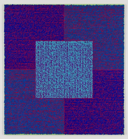 CCBAS, 2013, Acrylic paints and pastes on bent aluminum panel, 50 x 46 x 3/8 inches, four rectangles and a central square (blue, purple, light blue) with personal text written in red over the squares to create three dimensional texture. Louise P. Sloane has been creating abstract paintings since 1974.