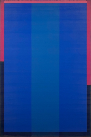 Steven Alexander, Poet XIV, 2016, Oil and acrylic on canvas, 72 x 48 inches, Signed and titled on the verso, Vertical rectangles in different shades of blue with pink and black border, Steven Alexander is an American artist who makes abstract paintings characterized by luminous color, sensuous surfaces and iconic configurations.