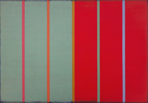 Steven Alexander, TRACER 10, 2016, Oil and acrylic on linen, 42 x 60 in. Signed, titled and dated on verso. Horizontal canvas split in two: red and green. On top of these colors are five thin vertical lines in pink, orange, orange, green and blue. Steven Alexander is an American artist who makes abstract paintings characterized by luminous color, sensuous surfaces and iconic configurations.