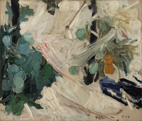 Manoucher Yektai,  Tomato Patch, Midsummer, 1959,  Oil on canvas,  36 x 42 inches. Abstract work with gestural paint marks in off-white, teal and green with small orange spheres. Manoucher Yektai is an Iranian Artist who studied in Iran, France and New York. He is part of the New York Abstract Expressionists and paints instinctively, which is why he has also claimed to be an Action Painter.