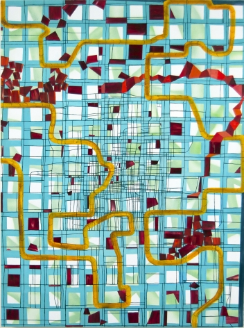 Lisa Corinne Davis, Quixotic Rationale, 2017, Oil on canvas, 40 X 30-1/2 inches, Thick blue grid lines with a curving yellow line and maroon boxes on top, Lisa Corinne Davis's paintings show her fluency in adapting abstract forms to express meaning.