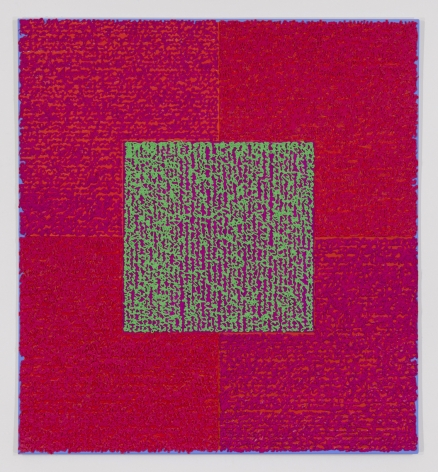 Louise P. Sloane, The Mighty Atom, 2014, Acrylic paints and pastes on aluminum panel, 50 inches x 46 inches, four rectangles and a central square (magenta and pink) with personal text written in green over the squares to create three dimensional texture. Louise P. Sloane has been creating abstract paintings since 1974. Her works focus on geometric forms while celebrating color and texture.