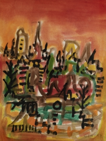 Herbert Gentry, Cityscape (probably Paris), 1960, Oil on paper, 21-1/2 x 16-1/4, inches lower right. Abstract cityscape painting with thick paint strokes and a warm gradient background. Herbert Gentry painted in a semi-figural abstract style, suggesting images of humans, masks, animals and objects caught in a web of circular brush strokes, encompassed by flat, bright color.