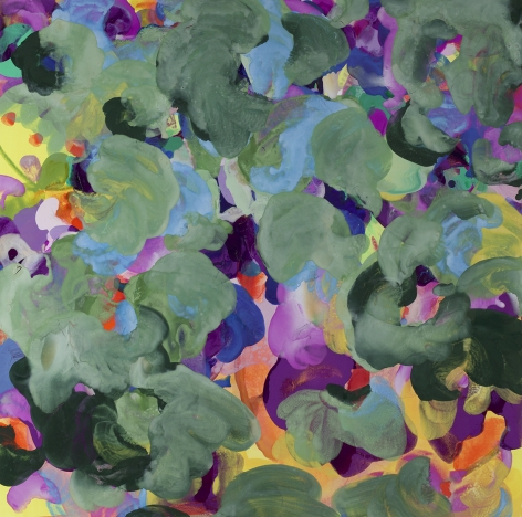 Jasmina Danowski, Beyond Believe IV, 2017, Ink and gesso on paper, 40 x 40 inches, Abstract and organic painterly marks in hunter green, violet, purple and specs of yellow., Jasmina Danowski creates abstract paintings that are rich in color and texture.
