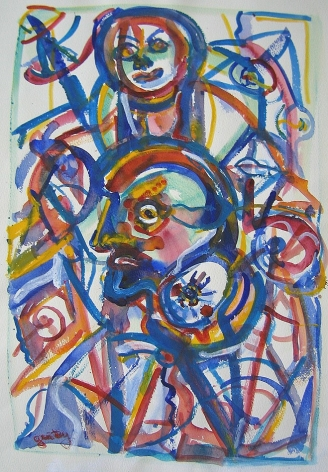 Herbert Gentry,  Also Us, 1990, Watercolor on paper,   30 X 22 inches,  Signed lower left. Abstract painting with multiple faces made of blue, yellow and red paint strokes. Herbert Gentry painted in a semi-figural abstract style, suggesting images of humans, masks, animals and objects caught in a web of circular brush strokes, encompassed by flat, bright color.