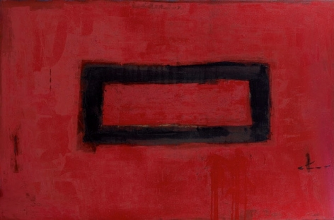 Katherine Parker, Track, 2011, Oil on canvas, 48 x 72 inches. Abstract red painting with black outlined rectangle in the center. Katherine Parker is known for her large vividly painted canvases which are characterized by layers of stumbled and abraded oil paint.