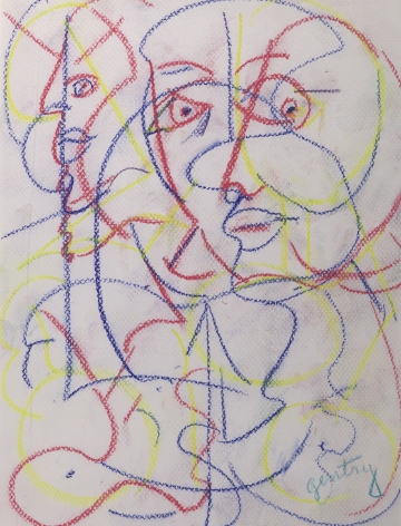 Herbert Gentry, Dialogue Series A, 1933, Pastel on Paper, 12 x 9 1/2 inches, Outlined portraits in red, blue and yellow. Herbert Gentry painted in a semi-figural abstract style, suggesting images of humans, masks, animals and objects caught in a web of circular brush strokes, encompassed by flat, bright color.