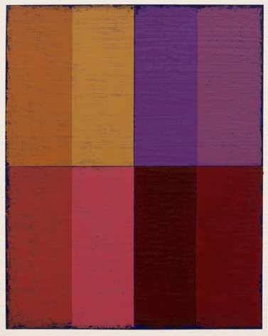 Steven Alexander, P16-18, 2018, Oil & acrylic on paper, 10 x 8 inches. Eight equal sized rectangles, in orange, yellow, purple and lavender stacked on top of; red, pink, maroon and deep red. Steven Alexander is an American artist who makes abstract paintings characterized by luminous color, sensuous surfaces and iconic configurations.