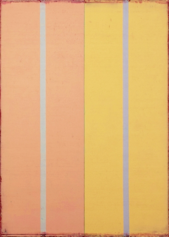 Steven Alexander,  VOICE 2, 2015, Oil & acrylic on canvas, 42 x 30 inches, Vertical rectangles, peach and yellow with rough edges, Steven Alexander is an American artist who makes abstract paintings characterized by luminous color, sensuous surfaces and iconic configurations.
