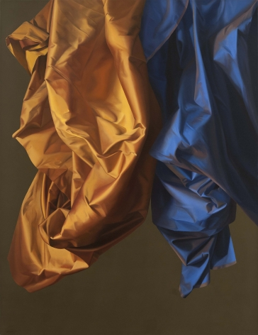 Jeanne Duval, Study In Silk I. Realistic oil painting of silks in orange and blue.
