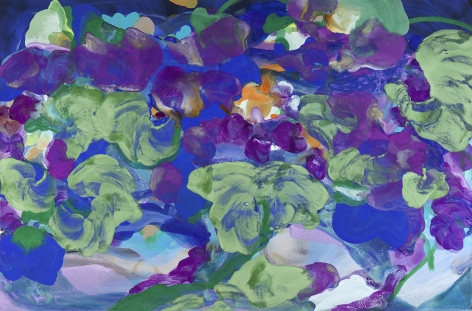 Jasmina Danowski, Field Trip, 2017,  40 X 60 inches,  Ink, acrylic, and gesso on paper, Abstract and organic painterly marks in blue, green, purple and violet, Jasmina Danowski creates abstract paintings that are rich in color and texture.