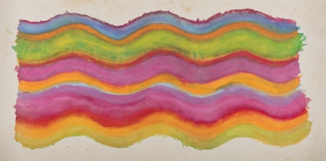Pat Lipsky, Bright Music II, 1969, Acrylic on canvas, 56 x 117 inches. Abstract work with organic waved lines in blue, pink, orange and green. Pat Lipsky is an American Color Field, and Abstract artist.