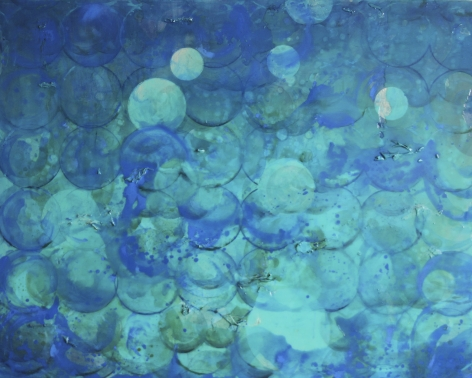 Erin Parish. Windy Ocean, 2017, Oil and resin on wood panel, 48 x 60 in., Signed and dated on verso. Composed principally of fields of blue, aqua, and turqouise circles, Parish's paintings do not have primary focal points, but rather implied depth, created by the use of resin resulting in textured surfaces that guides the eye. Layered and dense, Parish's works convey a distinct tension between the textured surface and the underpainting resulting in structurally rigorous and complex compositions.