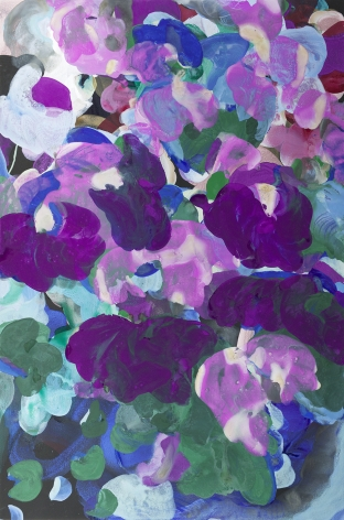 Jasmina Danowski, Seven trumpets, 2017,  60 X 40 inches,  Ink, Acrylic and gesso on paper, Abstract floral marks in violet, purple, green and blue, Jasmina Danowski creates abstract paintings that are rich in color and texture.