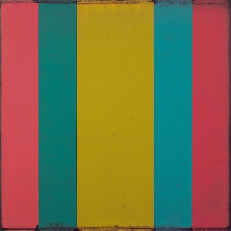 Steven Alexander, Generation 4, 2018, Oil and acrylic on linen, 32 x 32 inches, 5 vertical rectangles in pink, blue and yellow, mirroring each other. Steven Alexander is an American artist who makes abstract paintings characterized by luminous color, sensuous surfaces and iconic configurations.
