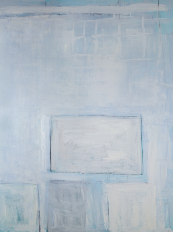 Katherine Parker,  Touching Down, 2017,  Oil on canvas,  80 x 60 inches. Abstract work with pastel blues and white loose rectangles. Katherine Parker is known for her large vividly painted canvases which are characterized by layers of stumbled and abraded oil paint.