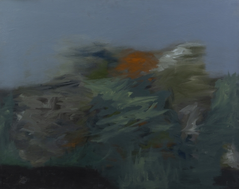 Felrath Hines, Landscape, 1959,  Oil on canvas, 29 x 37 inches. Painterly brush strokes in various shades of blue, grey and orange. Felrath Hines worked to create universal visual idioms from a place of complex personal experience. His figurative and cubist-style artwork morphed into soft-edged organic abstracts as he grappled with hues in his chosen oil medium.