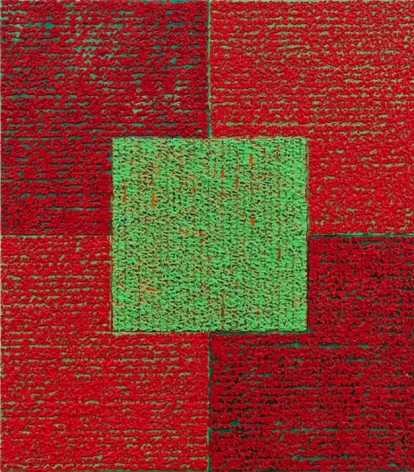 Louise P. Sloane, Green Square With Reds, 2010, Acrylic paints and pastes on aluminum panel,34 inches x 30 inches, four rectangles and a central square (red and mahogany) with personal text written in green over the squares to create three dimensional texture. Louise P. Sloane has been creating abstract paintings since 1974. Her works focus on geometric forms while celebrating color and texture.