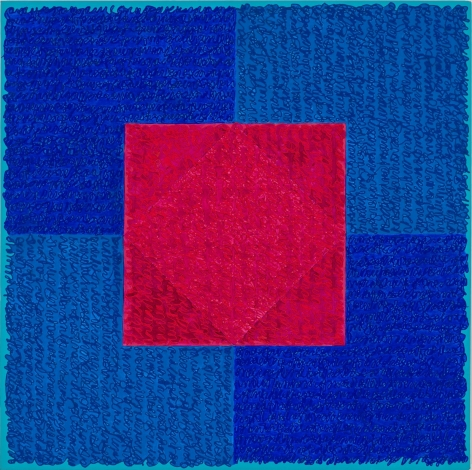 Louise P. Sloane, BB Red Square, 2018, Acrylic paint and pastes on linen, 42 x 42 inches, SOLD, Signed, titled and dated on the verso, four rectangles and a central square (different shades of blue with red) and personal text written over the squares to create three dimensional texture. Louise P. Sloane has been creating abstract paintings since 1974.