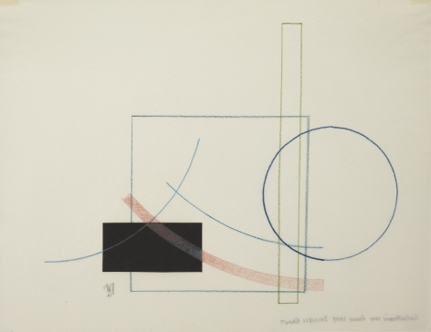 Dwinell Grant, Contrathemis Frame 2809, 1941,  Colored pencil on tracing paper, 8 x 10 1/2 inches, Blue square, black square, and blue outlined circle. Dwinell Grant made experimental modernist and constructivist films and paintings.
