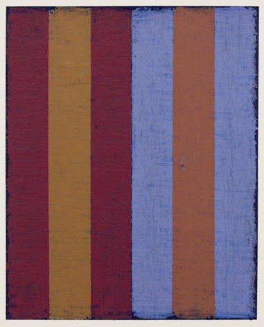 Steven Alexander, P5-17, Oil and acrylic on paper, 10 x 8 inches. Vertical canvas with six vertical rectangles in maroon, ochre and purple. Steven Alexander is an American artist who makes abstract paintings characterized by luminous color, sensuous surfaces and iconic configurations.
