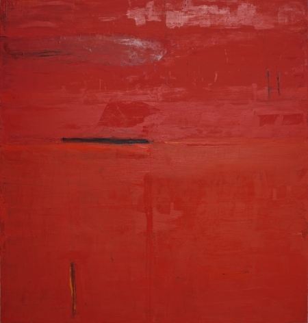 Katherine Parker, Malta, 2010, Oil on canvas, 68 x 64 inches, Abstract red painting with multiple layers, Katherine Parker is known for her large vividly painted canvases which are characterized by layers of stumbled and abraded oil paint.